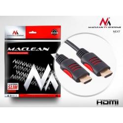 Przewód kabel HDMI-HDMI Maclean MCTV-812 1.8m v1.4 30AWG z filtrami ferrytowymi